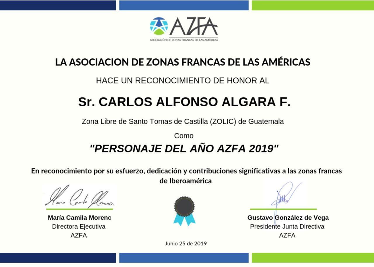 AZFA reconoce labor de Presidente ZOLIC en materia de Zonas Francas