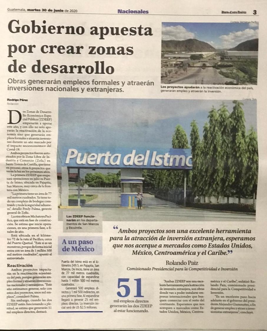 Las Zonas de Desarrollo Económico Especial Público contribuirán con la reactivación de la economía y generar nuevos empleos. #SomosZolic #SomosGuatemala